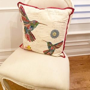 Pier One Hummingbird Beaded Embroidered Pillow